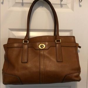 Coach leather tote. Saddle brown.